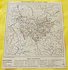 1898 Département de la Haute Loire 63  le PUY art print gravure carte vintage