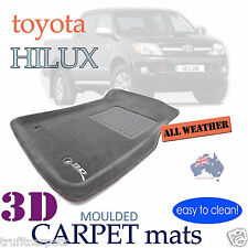To suit Toyota Hilux Dual Cab 2012 - 2015 - GREY CARPET 3D Car Floor Mats