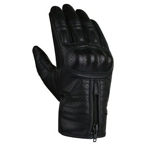 REDRUM Leather Motorcycle Gloves Motorbike short Biker Yellow Black Brown