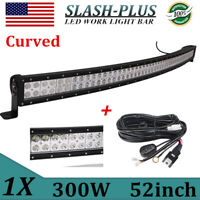 52inch 300W Curved LED Light Bar Flood Spot Combo Truck Boat SUV 4WD DRL+Wires