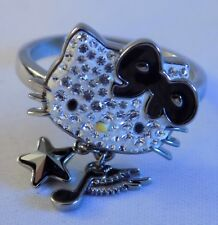 Swarovski HELLO KITTY ROCK Crystal STAR MUSIC NOTE CHARMS Women's Ring 58 8 EUC