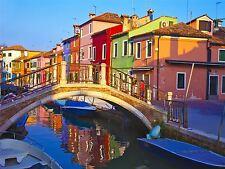 ART PRINT POSTER PHOTO CITYSCAPE VENICE ITALY BURANO BRIDGE CANAL LFMP0478