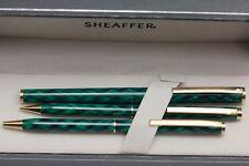 Sheaffer Fashion 283 Green Criss Cross Fountain, Ballpen and Pencil Set NOS