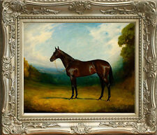 "Old Master Oil Painting Art Antique Portrait Animal Wildlife Brown Horse 30""x40"""