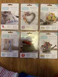 Brand New Crafters Companion Debbie Shore Metal Die Flower Bundle For Fabric