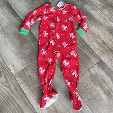 CARTER'S Girl's Pajama Footed 3T Christmas Red Zip UNICORN Fleece Sleeper NWT