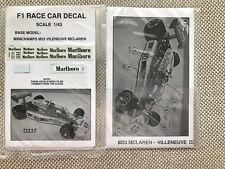 DECAL D237 FOR 1/43 SCALE M23 MCLAREN F1 DIE CAST GILLES VILLENEUVE
