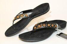 Vionic Floriana Womens 10 41 Black Beaded Thongs Sandals Flip Flops Flats Shoes