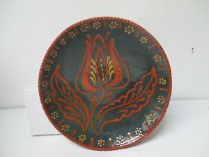 1988 Foltz Redware Decorated Plate - Tulip Decoration on Blue