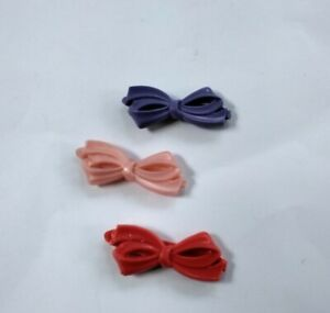 Vintage Kids  Plastic Hair Bows Barrettes Clips Pink Purple Red 80's 90's