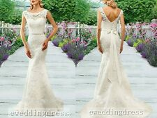 New White/Ivory Lace Boat Neck Mermaid Wedding dress Bridal Gown Custom Size