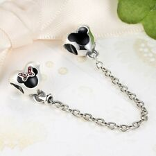 S925 Sterling Silver Minnie And Mickey Safety Chain Charm