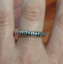 Vtg Sterling Silver.925 Thin Southwestern Dome Ring Etched Designs Sz6 Signed