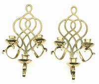 """Set Of 2 Solid Brass Triple Arm Candle Holders Wall Sconces  15.5"""""""