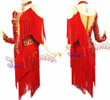Women Ballroom Latin Rhythm Salsa Rumba Dance Dress US 6 UK 8 Flesh Red Fringe
