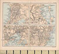 c1880 VICTORIAN MAP ~ AUSTRALIA ENVIRONS ~ SYDNEY BRISBANE MELBOURNE ADELAIDE