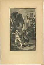 ANTIQUE VERSAILLES COSTUME MEN MAN SWORD DUEL HOUSE TREE ENGRAVING OLD ART PRINT