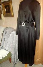 VINTAGE 60S STUNNING  ESTEVEZ  BLACK DRESS GOWN RHINESTONE BELT COCKTAIL PARTY