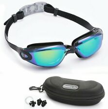 Swimming Goggles Bezzee Pro Anti-Fog Colour Mirrored Lens Glasess Case Ear Plugs