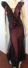 NWT $2K IN LOVE CARLING Burgundy Dotted Mesh LaceUp GOTH COSPLAY LOLITA Dress 4
