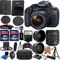 Canon EOS Rebel T5 1200D SLR Camera + 3 Lens 18-55 IS +24GB KIT & More Brand New