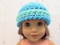 """Cute 2 Toned Turquoise Crocheted Hat fits American Girl Dolls 18"""" Dolls"""