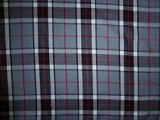"Grey Red Black Poly Wool Fabric 60"" Wide Check Tartan Plaid Curtains Cushions"