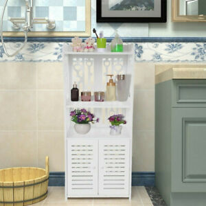 Bathroom Wooden Shelf Cabinet Cupboard White Bedroom Storage Unit Free Standing