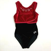 GK Elite AXS Gymnastics Leotard Black Red Stars Velour Adult XSmall