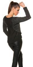 Sexy 2 in1 Pulli Pullover mit Chiffon Oberteil  Damen Neu 34 36 38  Schwarz