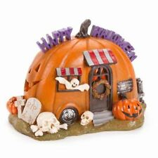 Fairy Garden Fun Halloween Pumpkin Camper House Resin Figurine Dollhouse Statue