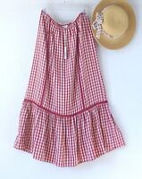 New~$98~Red Ivory Gingham Peasant Prairie Western Boho Dress Skirt~Size Small S