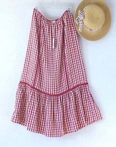 New~$98~Red Ivory Gingham Peasant Prairie Western Boho Dress Skirt~Size Large L