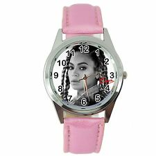 BEYONCE MUSIC STAR SINGER STAINLESS Steel PINK LEATHER BAND ROUND CD WATCH