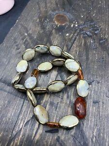 Barse Stone Stretch Bracelets- Set Of 2-African Opal & Amber-NWT