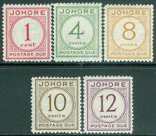 MALAYA : Johore 1938. Stanley Gibbons #D1-5 Very Fine, MOG. Fresh set. Cat £200.