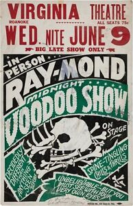 Voodoo Show Theatrical 1950s METAL TIN SIGN POSTER WALL PLAQUE