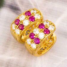 Women's Huggie Elegant Red and White CZ 9K Gold Filled Hoop Earring Wholesale