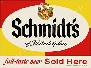 """SCHMIDT'S BEER SOLD HERE 9"""" x 12"""" METAL SIGN"""