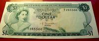 GEM BU 1974 Bahamas One Dollar  , VERY RARE T285566 serial VERY RARE w holder