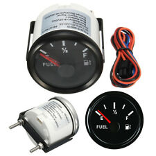 Universal 52mm Car Fuel Gauge Analogue Gas Level Indicator Red LED Black Bezel
