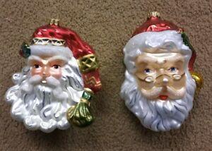 FITZ & FLOYD OLD FASHION STYLE GLASS CHRISTMAS TREE ORNAMENTS LOT OF 2 SANTA'S