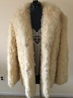 Vintage Beige Curley Lanb Fur Jacket