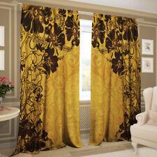 2er Set Gardinen Fotogardinen Vorhänge 3D - Gold Poesie, Gabardine, 145 х 270 cm