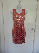 Ladies New Coral Silver Sequin Sleeveless Bodycon Gorgeous Party Dress size S 8