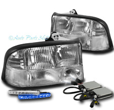 98-04 GMC SONOMA/98-01 JIMMY REPLACEMENT HEADLIGHT CHROME W/BLUE DRL LED+HID KIT
