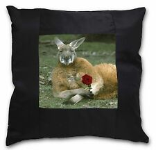 More details for kangaroo with red rose black border satin feel cushion cover with pil, ak-1r-csb