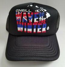 New Men's O'Neill Wave Of The Winter Hawaii Black Trucker Snapback Hat