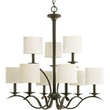Progress Lighting Inspire 9-Light Antique Bronze Chandelier with Beige Linen
