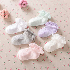Baby Girls Frilly Lace Low Cut Ankle High Cotton Socks Christening Wedding
